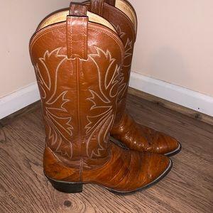Nocona Eel Skin Western Boots Brown/Copper 9D EUC